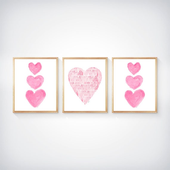 Pretty Pink Heart Prints for Little Girl, 8x10 Set of 3