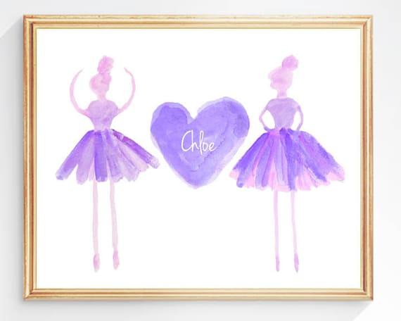 Purple Ballerina Personalized Print, 8x10