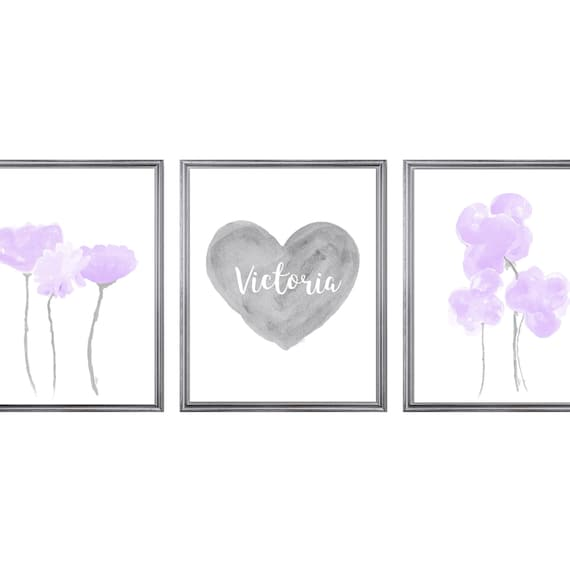 Lavender and Gray Prints, Set of 3 Flowers and Personalized Heart