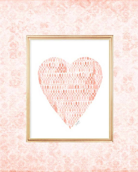 Coral Baby Nursery Decor, 8x10 Watercolor Heart Print