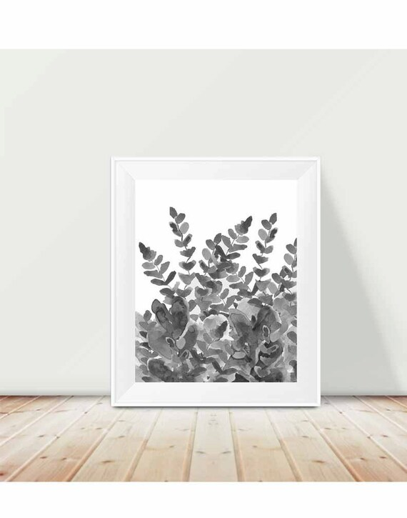 Fern Print in Black and White Art, 11x14