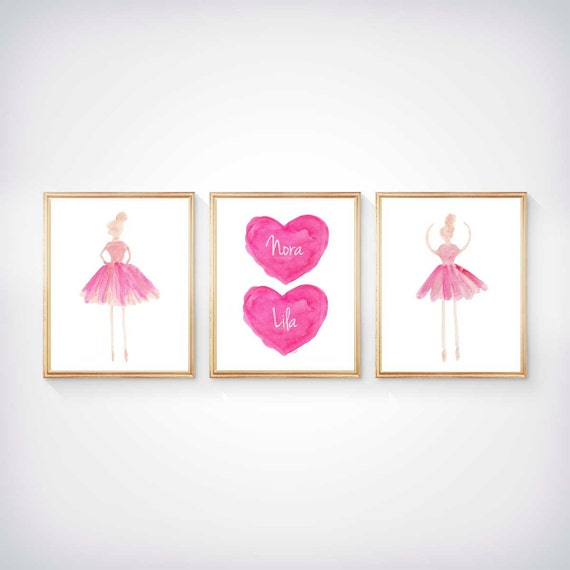 Sisters Ballerina Prints with Personalized Hearts, Set of 3 - 8x10