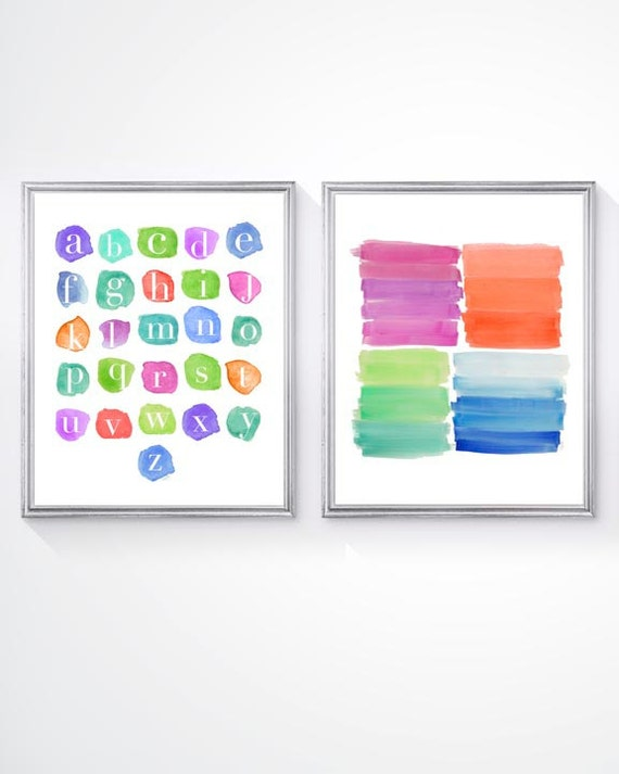 Playroom Wall Decor with ABC's, Set of 2-8x10 Prints in Rainbow Colors