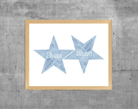 Star Nursery Print for Boys, 11x14 Personalized Watercolor Print