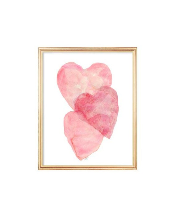 Overlapping Blush Watercolor Heart Print, 5x7, 8x10