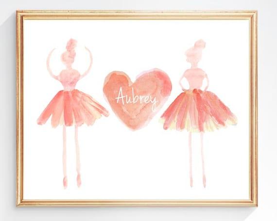 Coral Ballerina, Personalized Ballerina Art, Dancer, Ballet Print, Ballet Gift, Ballerina Watercolor, Ballet Nursery, Ballerina Decor