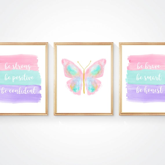 Bright Pastel Girl Power Decor, Set of 3 Butterfly Inspirational Prints