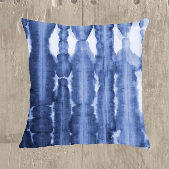 Indigo Shibori Pillow Cover, 18x18