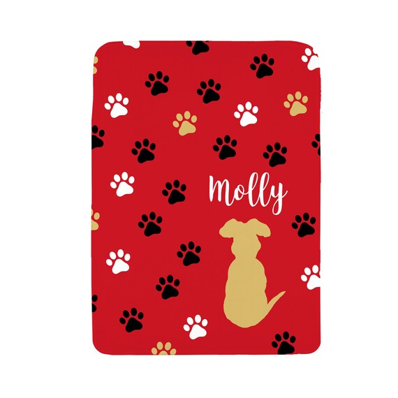 Yellow Lab Dog Blanket with Personalized Name