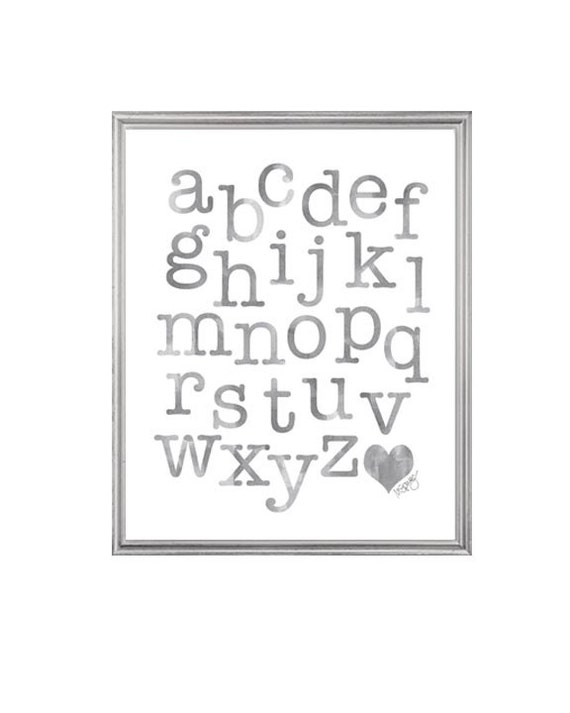 ABC Watercolor Alphabet Print in Gray, 8x10