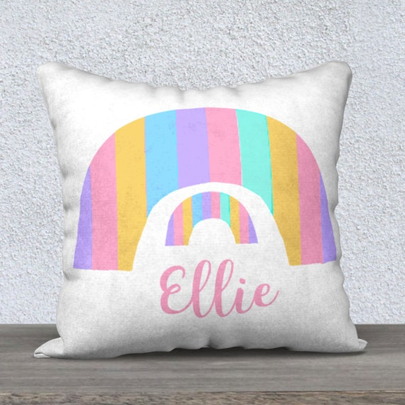 Rainbow Personalized Pillow in Velvet, 18x18 Square