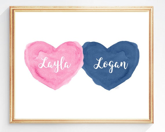 Pink and Navy Nursery Kids Wall Decor, 8x10 Personalized Hearts Print