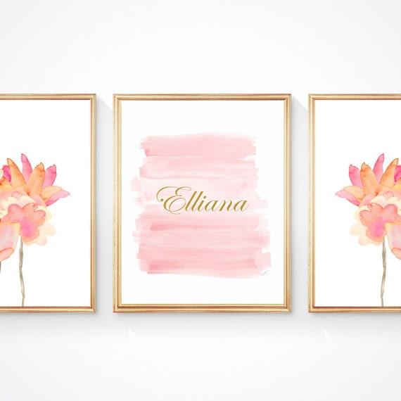 Girly Blush and Gold Prints, Set of 3- 8x10 Girl's Personalized Flower Wall Decor