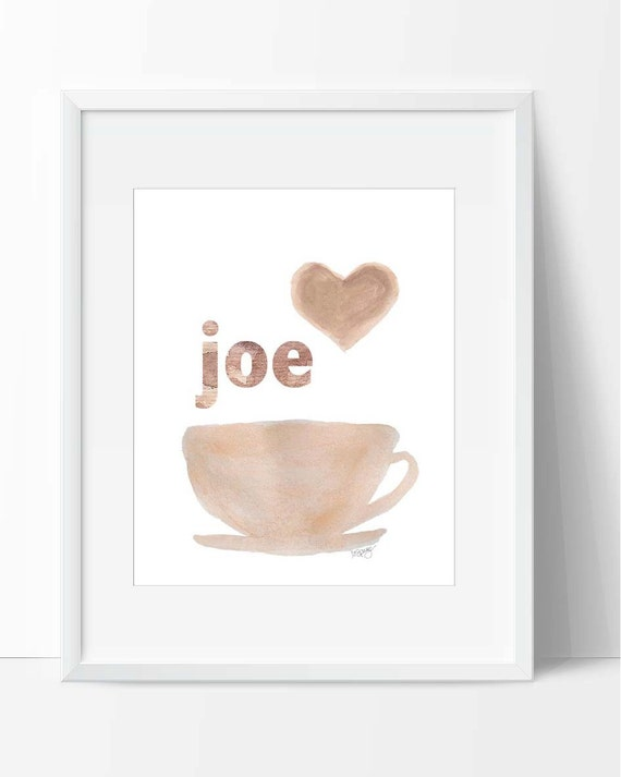 Watercolor Coffee Art Print, 5x7, 8x10