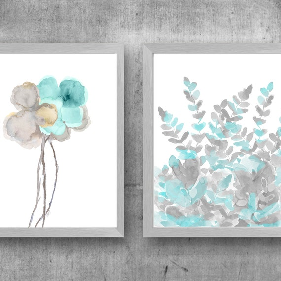 Aqua and Gray Living Room Art, Set of 2 Watercolor Prints