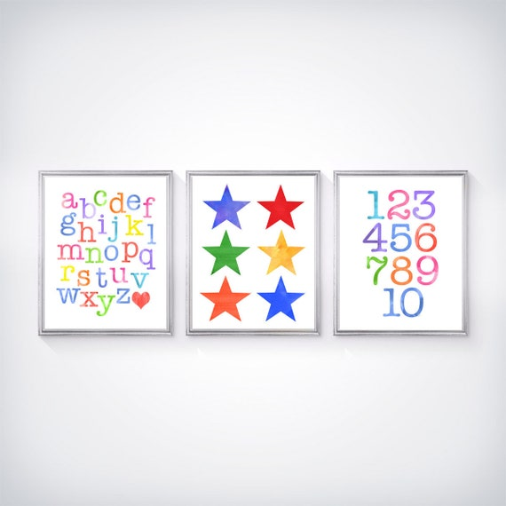 Playroom Learing Prints, Set of 3-8x10 ABC 123