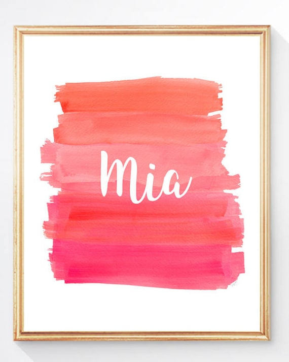 Pink and Orange Brushstroke Print with Name, 8x10