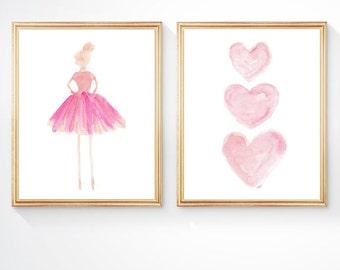 Nursery Decor Girl, Ballet Prints, Pale Pink Ballerina, 8x10 set of 2, Ballerina Art, Girls Ballet Print, Ballet Nursery, Pink Ballerina