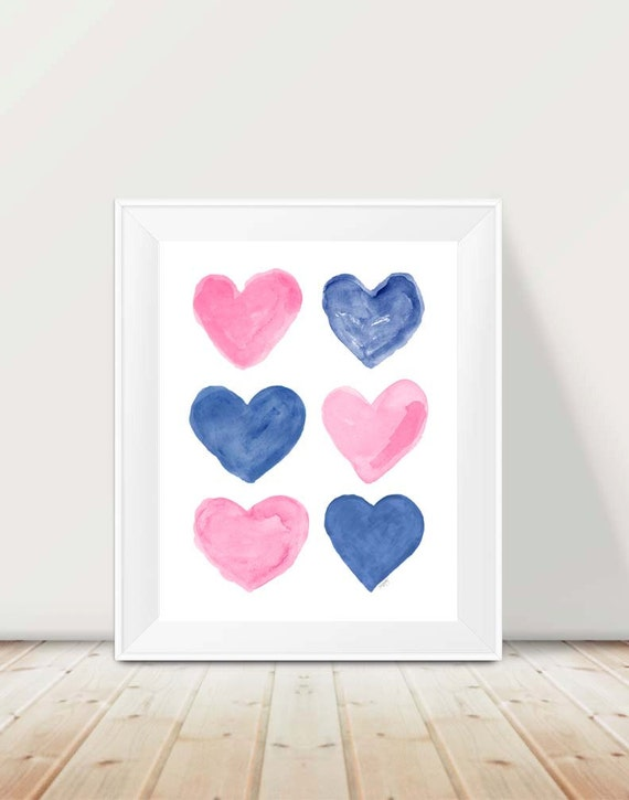 Pink and Navy Children's Print, 11x14 Hearts Collage