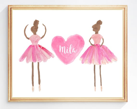 Dark Skin Ballerina Print Personalized with Name