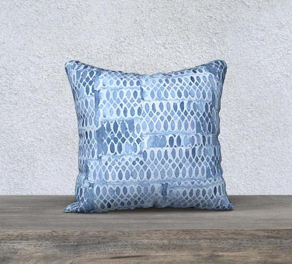 Blue Accent Pillowcase with Lace Pattern