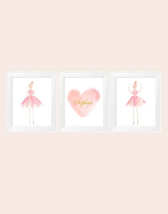 Blush and Gold Ballerina, Set of 3 - 11x14 Nursery Prints