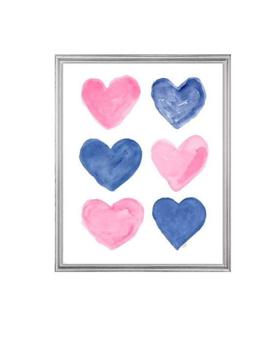 Pink and Navy Heart Collage Print for Kids Room, 8x10