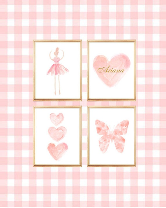Blush Gallery Wall, Set of 4-11x14 Blush and Gold Prints