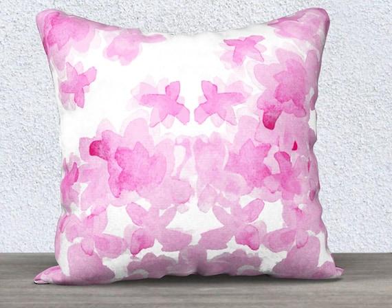 """Pink Velvet Floral Pillow, 14""""x20"""", 18""""x18"""""""