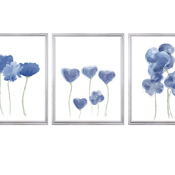 Navy Floral Wall Art, Set of 3 Contemporary Flower Prints