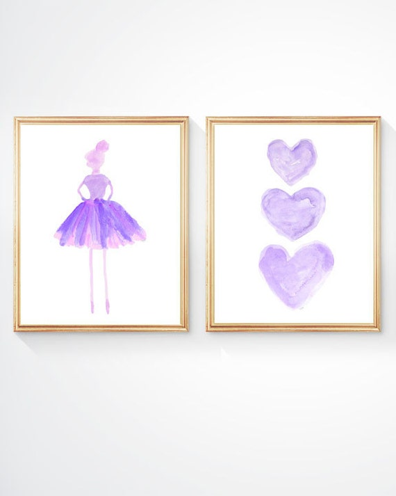 Purple Ballerina Print Set for Young Girl, 8x10 Set of 2