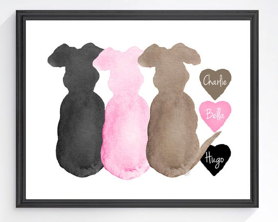 Dog Lover Gift, 3 Dogs 8x10 Personalized Print