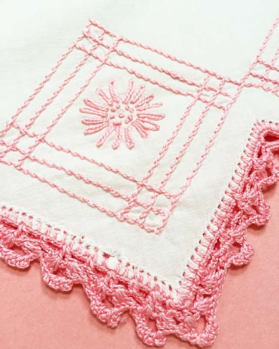 Pink Vintage Embroidered Pillow Cover with Crocheted Trim