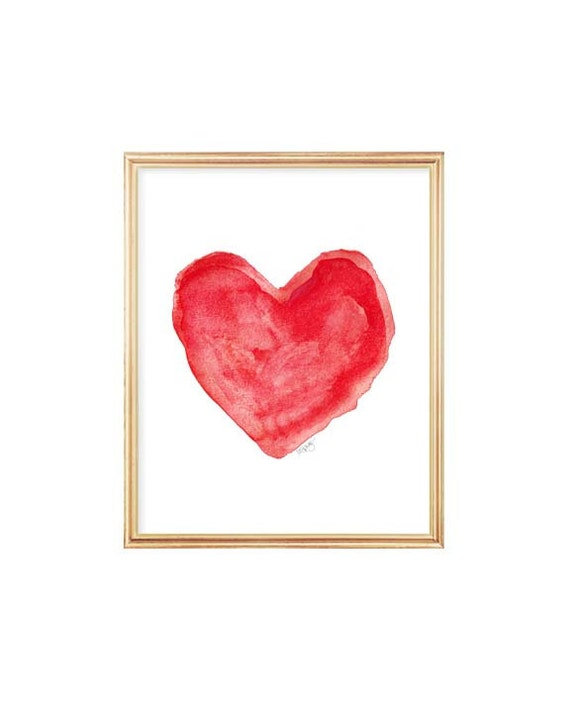 Artistic Red Heart Print, 8x10