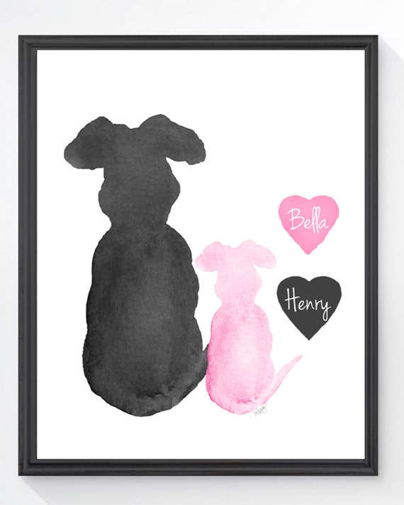 Puppy Love Print, 8x10 Personalized Gift with Two Dogs