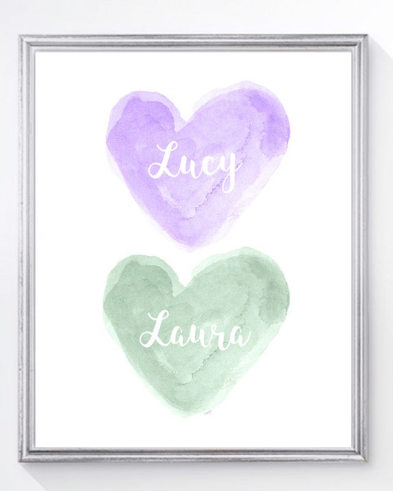 Purple and Mint Nursery Art, 8x10 Personalized Name Print for Sisters