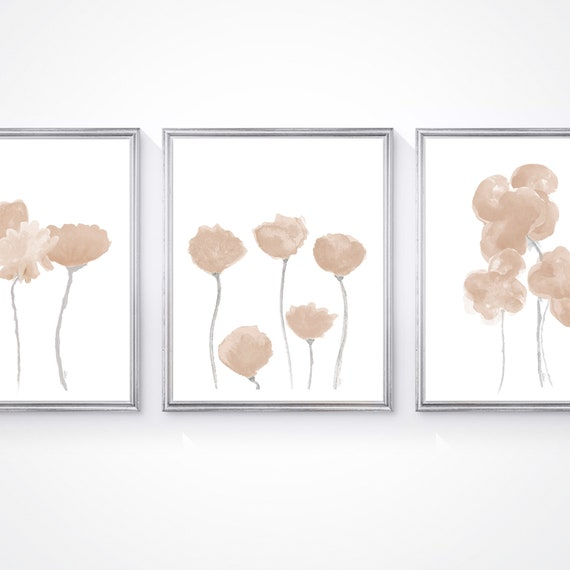 Natural Flower Prints; Set of 3 Watercolors