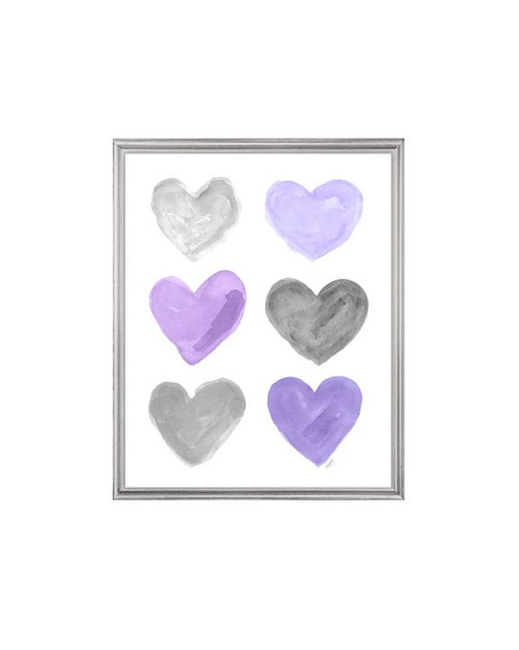 Purple and Gray Hearts Print for Children, 8x10