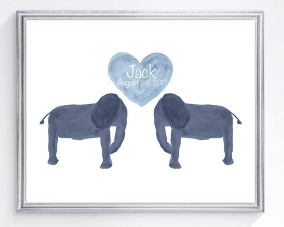 Baby Animal Nursery Print with Elephant, 8x10 with Name and Birthday