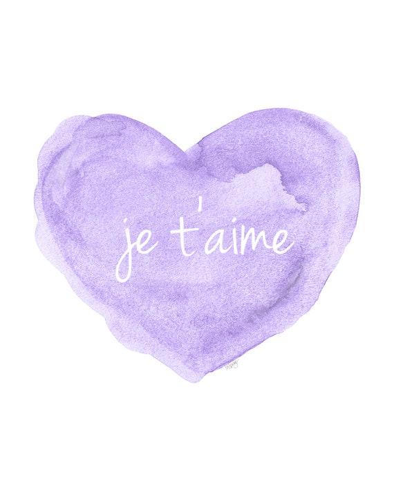 Je t'aime LavenderWatercolor Heart Print, 5x7, 8x10