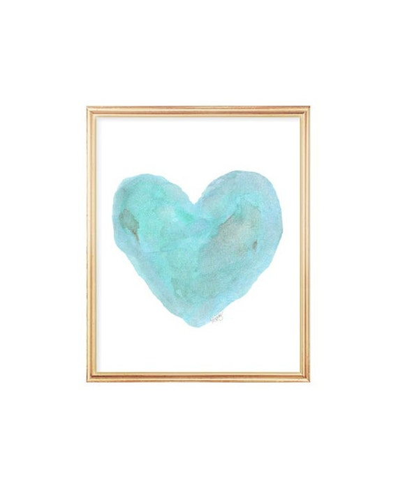 Beach Nursery Decor, 8x10 Aqua Watercolor Heart Print