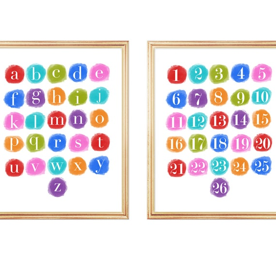 Learning Prints Alphabet Numbers, 11x14 Set of 2 Teaching Prints