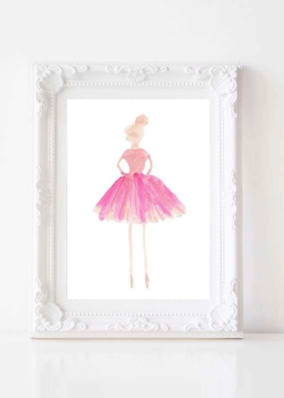 Ballet Teacher Gift;  5x7, 8x10 Ballerina Watercolor Print