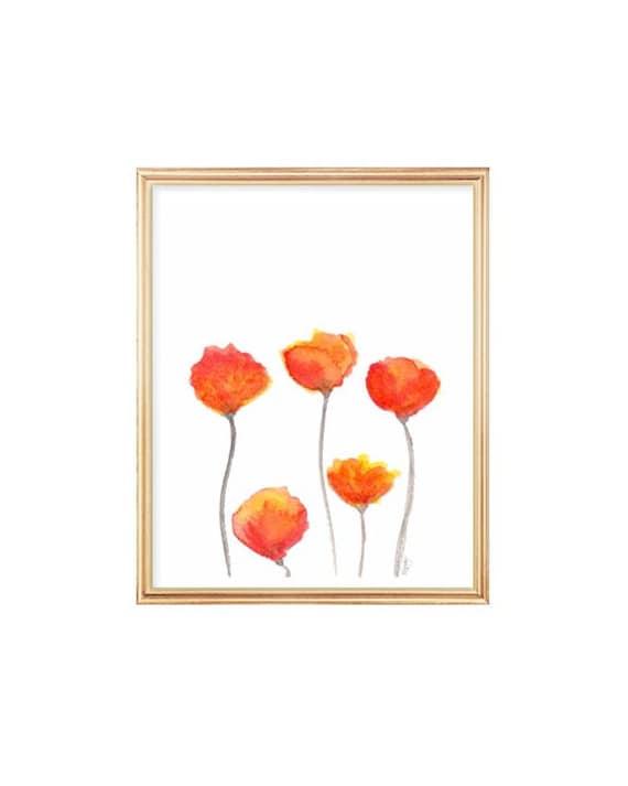 Tulip Print in Orange, 8x10 Watercolor