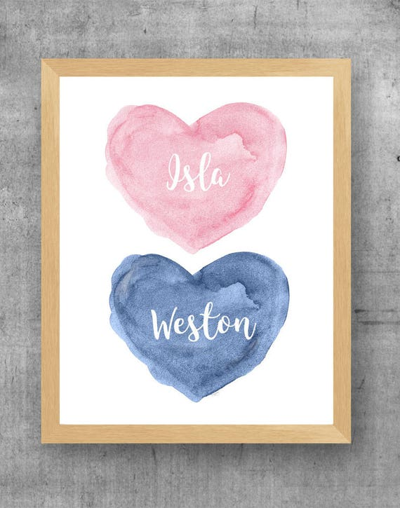Pink and Navy Nursery Print, 8x10 Personalized Print forTwins