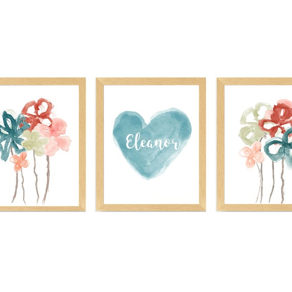 Teal and Blush Wall Decor for Girls Boho Bedroom; Set of 3 Personalized Prints