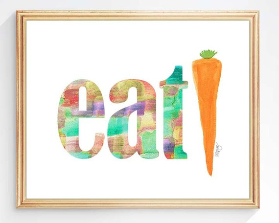 Eat; Organic Gardening Kitchen Print, 5x7, 8x10