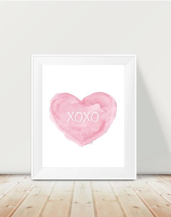 XOXO Nursery Print, 11x14 Pink Heart