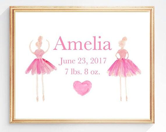 Baby Ballerina Print for Newborn Girl, 8x10 Birth Stats Print