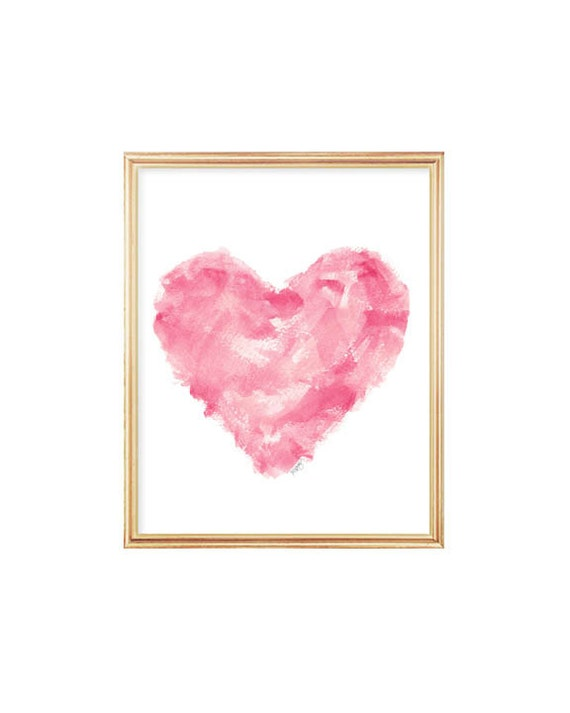 Modern Nursery Print in Pink, 8x10 Heart